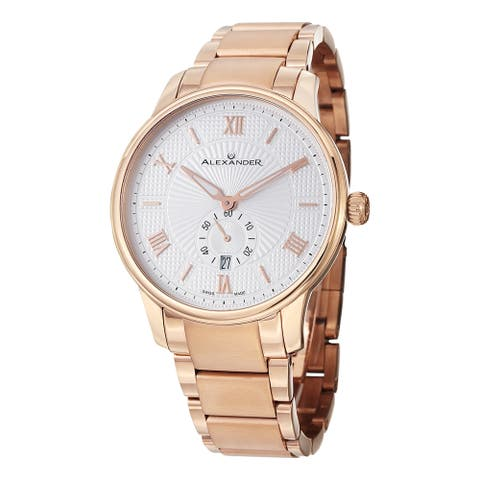 Alexander Men's 'Regalia' Silver Dial Rose Goldtone Stainless Steel Swiss Quartz Statesman Watch