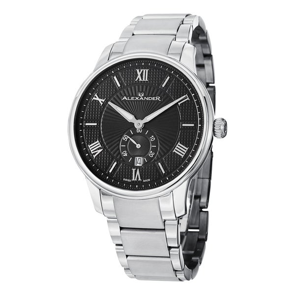 Alexander Men's 'Regalia' Black Dial Stainless Steel Bracelet Swiss Quartz Statesman Watch. Opens flyout.