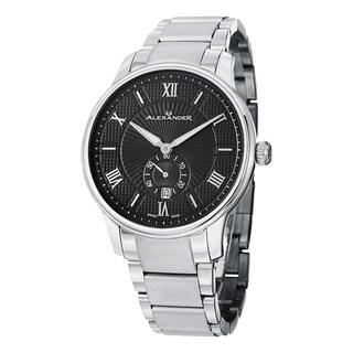 Alexander Men's A102B-02 'Regalia' Black Dial Stainless Steel Bracelet Swiss Quartz Statesman Watch