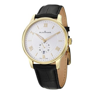 Alexander Men's A102-03 'Regalia' Silver Dial Black Leather Strap Yellow Goldtone Swiss Quartz Statesman Watch