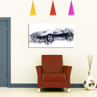 Sleek Black Exotic Car' Gallery-wrapped Canvas