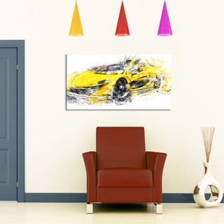 Yellow Exotic Car' Gallery-wrapped Canvas