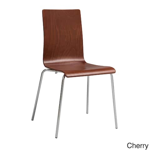 Safco Bosk Stackable Chair with Chrome Plated Steel Frame, Cherry - 2 Pack