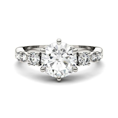 Moissanite by Charles & Colvard 14k Gold 2.22 TGW Solitaire with Side Accents Engagement Ring