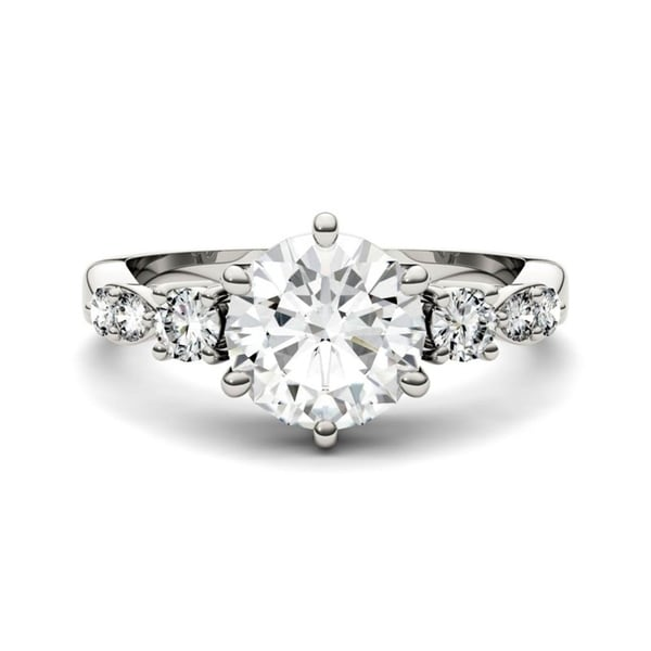 Moissanite by Charles & Colvard 14k Gold 2.22 TGW Solitaire with Side Accents Engagement Ring. Opens flyout.