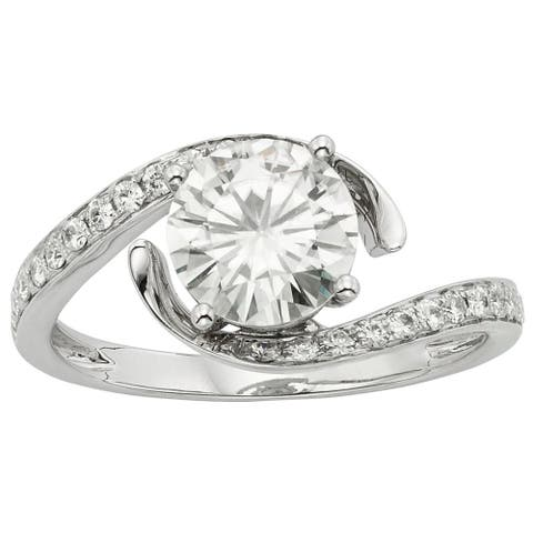 Moissanite by Charles & Colvard 14k Gold 1.74 TGW Round Bypass Ring