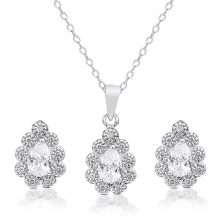 Dolce Giavonna Silver Overlay Cubic Zirconia Flower Necklace and Earrings Set