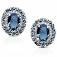 Dolce Giavonna Sterling Silver London Blue Topaz Diamond Accent Oval Stud Earrings