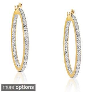 Finesque Sterling Silver 1/5ct TDW Diamond Hoop Earrings