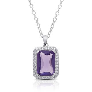 Dolce Giavonna Silver Overlay Simulated Tanzanite Emerald-cut Cubic Zirconia Necklace