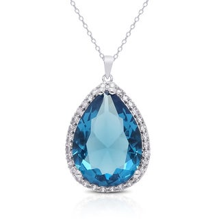 Dolce Giavonna Silver Overlay Simulated London Blue Topaz Cubic Zirconia Teardrop Necklace