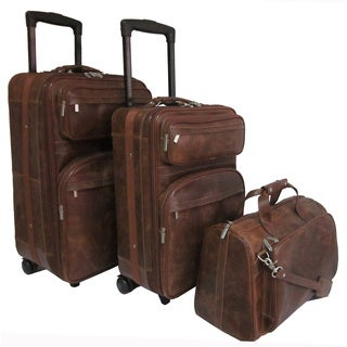 Amerileather Waxy Brown Leather 3-piece Luggage Set
