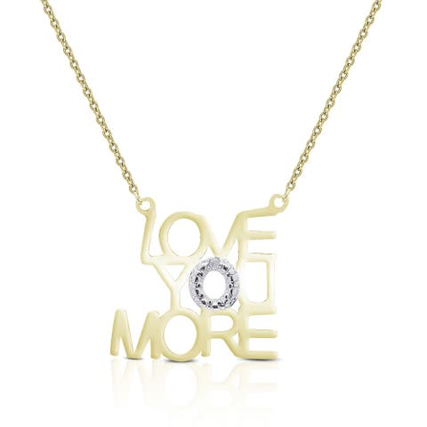 Finesque Sterling Silver Diamond Accent 'Love You More' Necklace