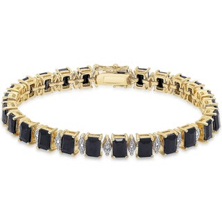 Dolce Giavonna Gold over Sterling Silver Emerald-cut Sapphire Diamond Accent Bracelet