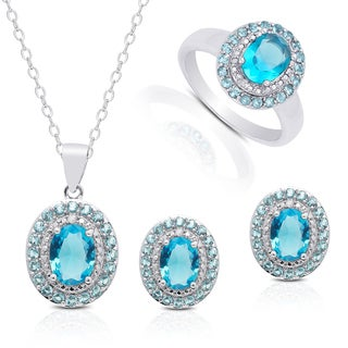 Dolce Giavonna Silver Overlay Simulated Blue Diamond Oval Jewelry Set