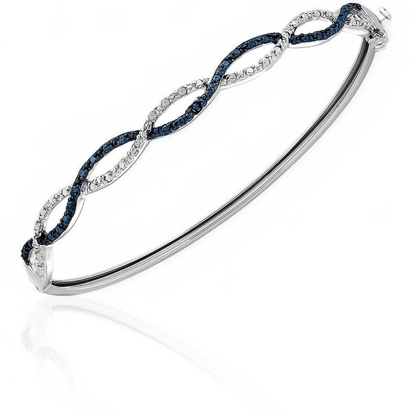 Finesque Silver Overlay Blue Diamond Accent Infinity Bangle