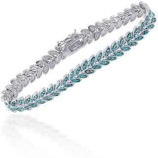 Finesque Silver Overlay Blue Diamond Accent Leaf Bracelet