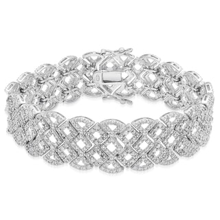 Finesque Silver Overlay 1/2ct TDW Diamond Lattice Bracelet (I-J, I2-I3)