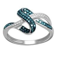 De Couer 10k White Gold 1/4ct TDW Blue and White Diamond Ring