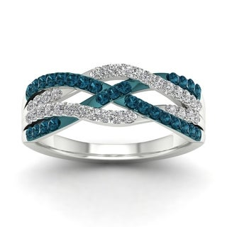 De Couer 10k White Gold 1/2ct TDW Blue Diamond Criss-cross Fashion Ring