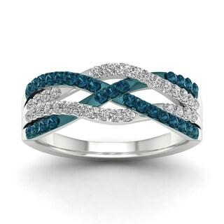 De Couer 10k White Gold 1/2ct TDW Blue Diamond Criss-cross Fashion Ring