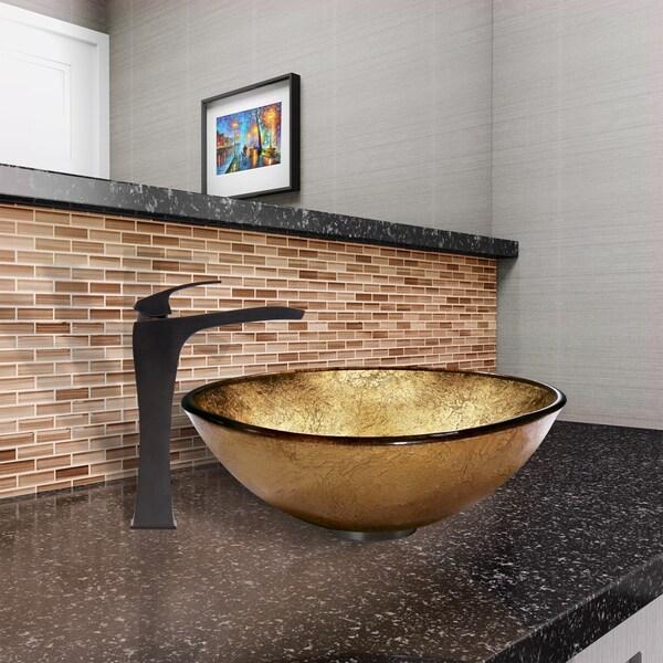 VIGO Liquid Gold Glass Vessel Sink and Blackstonian Faucet Set in Antique Rubbed Bronze Finish