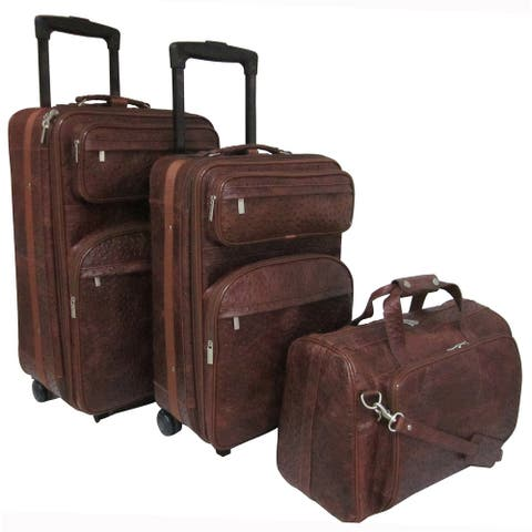 Amerileather Brown Ostrich Print Leather 3-piece Luggage Set