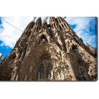 La Sagrada Familia, Barcelona' Photography Canvas Art - Brown/Blue