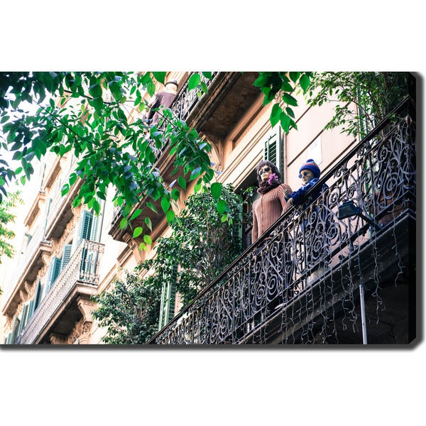 Barcelona' Photography Canvas Art - Multicolor
