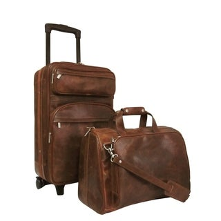 Amerileather Waxy Brown Leather 2-piece Carry On Luggage Set