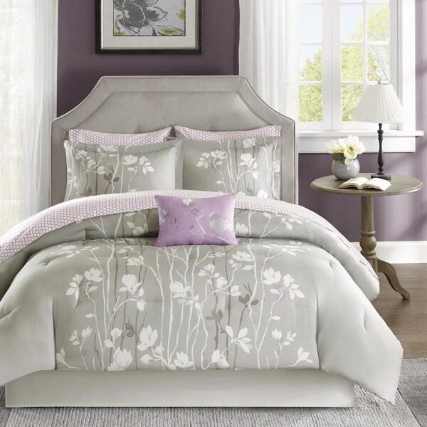 Madison Park Essentials Fulton Grey Complete Comforter and Cotton Sheet Set