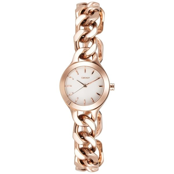 8ee2f8b6d40 Shop DKNY Women s NY2214 Chambers Round Rose-Gold Bracelet Watch ...