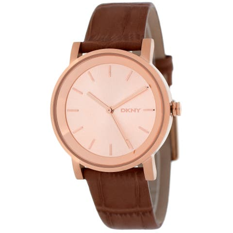 DKNY Women's NY2245 Soho Round Brown Strap Watch