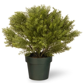 20-inch Faux Globe Juniper in Green Pot