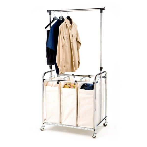 Seville Classics Mobile 3-Bag Heavy-Duty Laundry Hamper Sorter Cart /w Clothes Rack