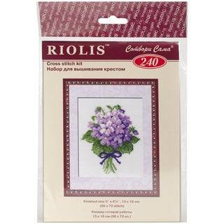 """Violets Counted Cross Stitch Kit-5""""x6.25"""" 16 Count"""
