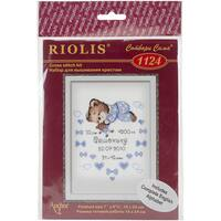 """Boys Birth Announcement Counted Cross Stitch Kit-7.125""""X9.5"""" 14 Count"""