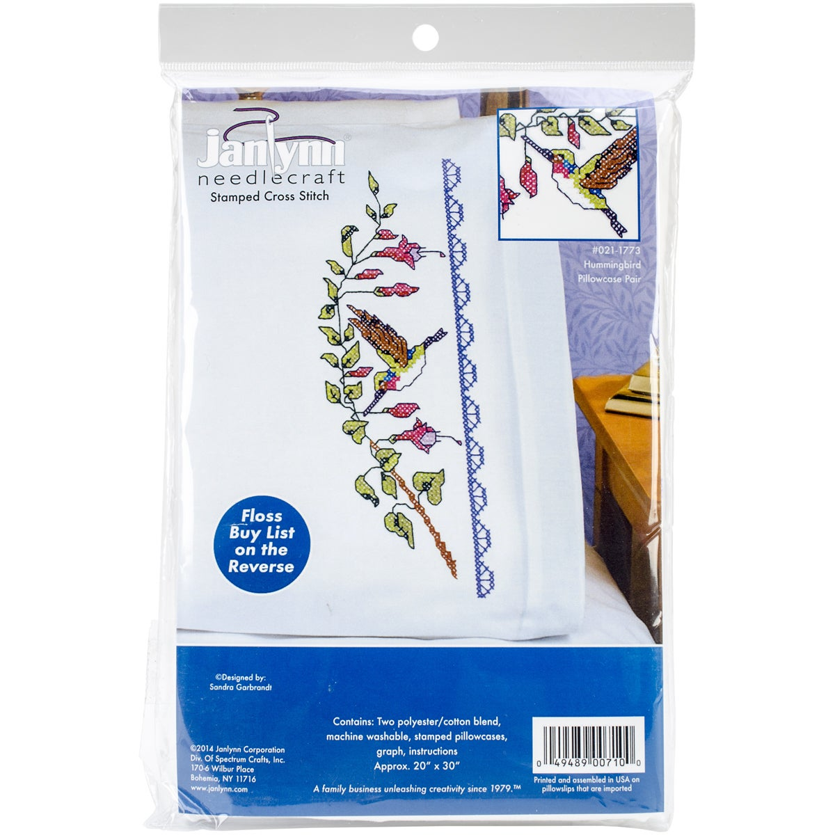 Janlynn Hummingbird Pillowcase Pair Stamped Cross Stitch-...