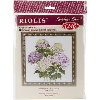 "Garden Hydrangea Counted Cross Stitch Kit-13.75""X13.75"" 14 Count"
