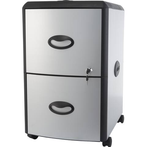 Storex Two Drawer Metal/ Plastic File Cabinet