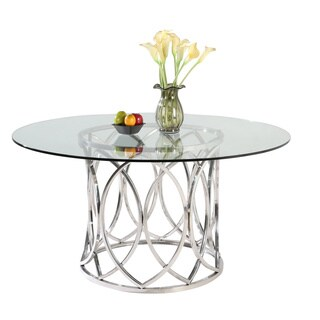 Somette Colette 54-inch Round Stainless Steel Dining Table
