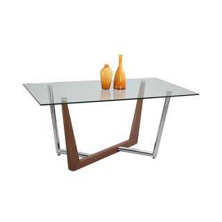 Somette Florence Criss-cross 63-inch Clear Glass Dining Table