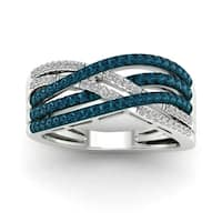 De Couer 10k White Gold 1/2ct TDW Blue and White Diamond Ring