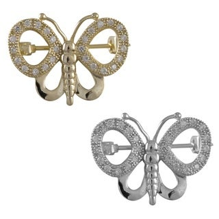 Luxiro Sterling Silver Cubic Zirconia Filigree Butterfly Pin Brooch