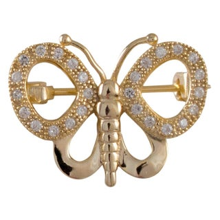 Luxiro Sterling Silver Cubic Zirconia Filigree Butterfly Pin Brooch (2 options available)