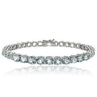Glitzy Rocks Sterling Silver Aquamarine Tennis Bracelet