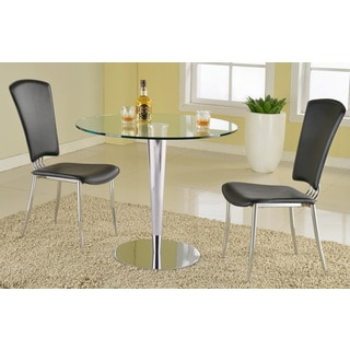 Somette Rand Round Glass and Chrome Dining Table