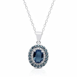 Dolce Giavonna Sterling SIlver London Blue Topaz Diamond Accent Oval Necklace