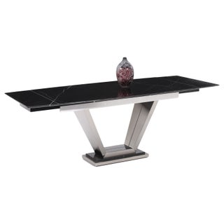 Somette Josey Solid Marble Pedestal Dining Table - Black