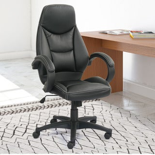 CorLiving WHL-402-C Black Bonded Leather Managerial Office Chair